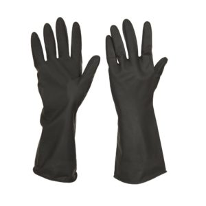BLACK RUBBER GLOVES INDUSTRIAL – LARGE