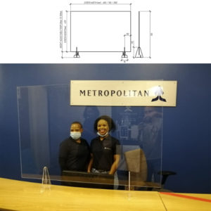 Perspex Protection Screen – 1000mm x 680mm