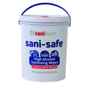 Sani-Safe 1000 sheet 80% alcohol wipes – 5L